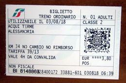 ITALIA Ticket Biglietto Treno Tariffa 39/13  ACQUI TERME / ALESSANDRIA Biglietteria Automatica 2018 - Chemins De Fer