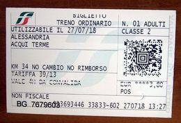 ITALIA Ticket Biglietto Treno Tariffa 39/13  ALESSANDRIA / ACQUI TERME Biglietteria Automatica 2018 - Chemins De Fer