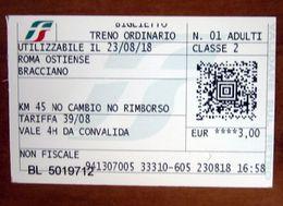 ITALIA Ticket Biglietto Treno Tariffa 39/08  ROMA OSTIENSE / BRACCIANO Biglietteria Automatica 2018 - Chemins De Fer