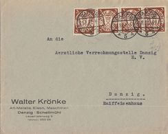 Danzig Ortsbrief Mef Minr.4x 216 Danzig 21.8.37 - Dantzig