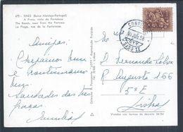 Rare Obliteration Of 'Condução SADO II' Railways 1958. Postcard From Sines Beach. Obliteração 'Condução Sado II'. 2sc - 1910-... Republic
