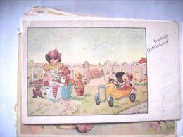 Nederland Holland Pays Bas Kinderkaart : Meisje Was Dieren Neger Kind Auto KK1 - Andere