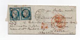 !!! BALLON MONTE LE GENERAL CAMBRONNE POUR LONDRES, SIGNE BRUN. CERTIFICAT CALVES - Marcophilie (Lettres)