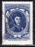 ARGENTINA 1954 1959 GENERAL JOSE DE SAN MARTIN 1955 GENERALE PESOS 50p USATO USED OBLITERE' - Argentina