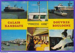 """Carte Postale 62. Calais Boulogne-sur-Mer  Ramsgate Douvres  Hovercraft Aéroglisseur """"Princess Anne""""   Trés Beau Plan - Calais"""