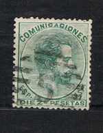 D3 - YT 128 - Edifil 129 - Amadeo I - 10 Pesetas Vert - Oblitéré - Aminci Au Dos - Rare - 1872-73 Reino: Amadeo I