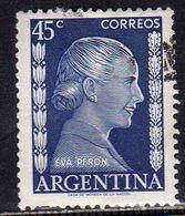 ARGENTINA 1952 EVA PERON CENT. 45c USATO USED OBLITERE' - Argentina