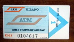 ITALIA Ticket  Bus Metro ATM Milano Biglietto Valido 2 Viaggi Con Filigrana - Europe
