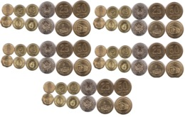 Argentina - 5 Pcs X Set 6 Coins 1 5 10 25 50 Centavos 1 Peso 1992 - 2011 UNC Lemberg-Zp - Argentina