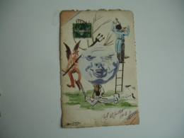Carte Peinte  19813 Signature A Identifier Lune Pierrot Diable Peinte - Fantasia