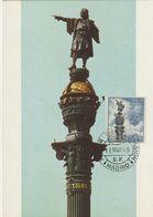 Carte Maximum ESPAGNE  N°Yvert 1306 (Barcelone - Monument A Colon) Obl Sp Ill 1er Jour 1965 - Cartes Maximum