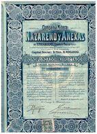 Titre Ancien - Compañia Minera Nazareno Y Anexas En Tamascaltepec - Estado De Mexico  - Titulo De 1910 - - Mines