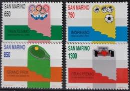 SAINT MARIN  / YT 1206 - 1209 / SPORT - FOOTBALL - TENNIS - FORMULE 1 / NEUFS ** / MNH / COTE : 8.50 € - Saint-Marin