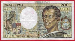 "-- BILLET 200 F ""MONTESQUIEU"" 1983 - F.021 /  N° 584475 -- - 200 F 1981-1994 ''Montesquieu''"