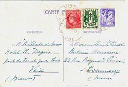 VOID Meuse Entier Postal 1,20 F Iris Complément 1F Mazelin 30c Chaînes Yv 651-CP1 676 671 Ob Autoplan A5 28 8 1946 - Cartoline Postali E Su Commissione Privata TSC (ante 1995)