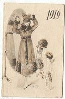 CALENDRIER  DE POCHE PETIT ALMANACH 1919 ILLUSTRATEUR René Gilles FEMME ELEGANTE ANGE - Calendriers