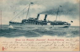 "1900  T.P.  CIRCULADA ,  GRUSS VON DAMPFER "" IMPERATOR "" , SASSNITZ - TRELLEBORG  , BARCOS , SHIPS , BATEAUX - Paquebots"