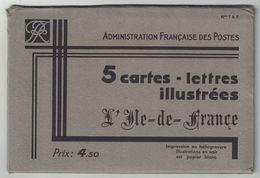 """POCHETTE COMPLETE De 5 CARTES LETTRES """" ARMOIRIES DE L ILE DE FRANCE """" N° 1 À 5 (ENTIER POSTAL ILLUSTRÉ) - Letter Cards"""