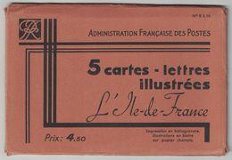 """POCHETTE COMPLETE De 5 CARTES LETTRES """" ARMOIRIES DE L ILE DE FRANCE """" N° 6 À 10 (ENTIER POSTAL ILLUSTRÉ) - Letter Cards"""