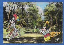 CPSM WALT DISNEY MICKEY PLUTO DINGO A VELO Cyrano Chapeau ED ESTEL Ce Dingo Toujours En Retard D'une Guerre ! 1968 - Disney