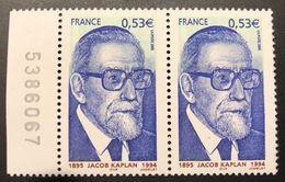 Variété Jacob Kaplan N°3859 (Maury N°3844a) 1 Barre à Gauche Tenant à 2 Barres à Gauche  - RARE - Curiosités: 2000-09 Neufs