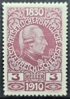 AUSTRIA 1910 - MLH - ANK 163 - 3h - Neufs