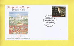 Monaco Prince Albert De Monaco Ensemble Face Au Covid19 Timbre émis Le 03 06 2020 Enveloppe Premier Jour First Day Cover - Briefe U. Dokumente