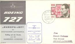 DDR Anschlusspost Zumn Lufthansa-Erstflug Hamburg London 16.4.1964 - Covers & Documents