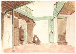 Delacroix A Courtyard In Tanger Vintage Painting Postcard - Pintura & Cuadros