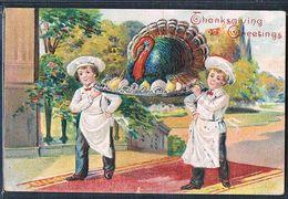 C194 THANKSGIVING Petits Garçons CUISINIERS DINDON TURKEY BOYS Gaufrée Embossed - Thanksgiving