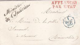 PSC De Paris (75) Pour Saumur (49) - 1/10/1834 - CAD  12 & Dateur A - ML Ministère De L'Intérieur + Affranchi Par L'Etat - 1801-1848: Precursori XIX