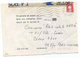 BRIAT 2FR30 LETTRE 33 CESSON GIRONDE 1990 POUR PARIS BANDE PTT + GRIFFE PLI PARVENU ET OUVERT PAR ERREUR - Marcophilie (Lettres)