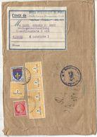 BLASON 15FR + 2FR ARC TRIOMPHE X5+1FR MAZELIN BANDE COMPLETE PARIS 194? POUR AUTRICHE - 1941-66 Armoiries Et Blasons