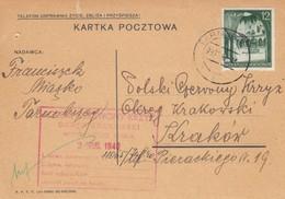 GG Rotes Kreuz: Postkarte Miasko Nach Krakau - Occupazione 1938 – 45