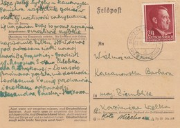 GG: 7.10.44 Postkarte Grodzisk Maz. Propagandaspruch - Besetzungen 1938-45