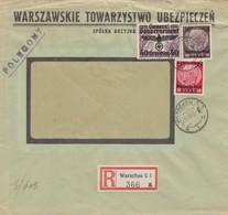 GG Fensterbrief Einschreiben Warschau, Schöne MiF, Portogerecht - Occupazione 1938 – 45
