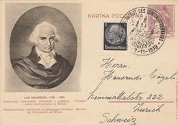 GG Poln. Ganzsache Vom 7.11.39 Mit Amtsantrit Des Generalgouverneurs Nach Zürich - Besetzungen 1938-45