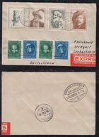 Netherlands 1956 EXPRESS Cover To STUTTGART Germany REMBRANDT Stamps Railway Postmark Emmerich Köln - Period 1949-1980 (Juliana)
