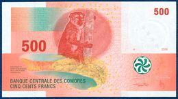 COMOROS - COMORES - KOMOROS 500 FRANCS P-15b FAUNA WILDLIFE LEMUR - ORCHID FLOWER 2006 UNC - Comores