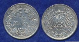 Deutsches Reich 1/2 Mark 1911E Großer Adler Ag900 - [ 2] 1871-1918 : Imperio Alemán