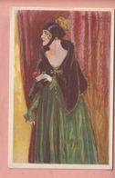 OLD POSTCARD -  WOMAN IN GREEN - ARTIST SIGNED MAUZAN - Mauzan, L.A.