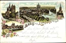 Blason Lithographie Limburg An Der Lahn, Evangelische Kirche, Dom, Gesamtansicht - Deutschland