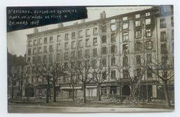 CPA TIRAGE PHOTO 1907 LOIRE ST ETIENNE EXPLOSION DYNAMITE PLACE HOTEL VILLE TBE - Saint Etienne