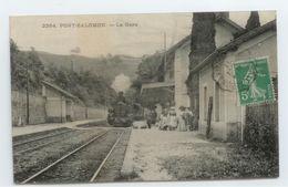 CPA 1911 HAUTE LOIRE PONT SALOMON GROS PLAN ANIME GARE TRAIN LOCOMOTIVE TBE - France