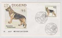 FDC Ersttagsbrief Für Die Jugend Deutscher Schäferhund 1995 - [7] République Fédérale