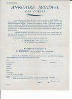 """Bon De Souscription Pour L'ouvrage à Paraître '""""ANNUAIRE MONDIAL DES CORSES"""" Antérieur à 1953. - Corse"""