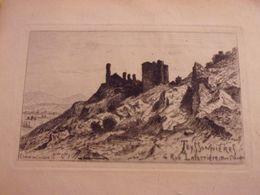 Gravure Signée Pierre TEYSSONNIERES (1834-1912) Eau Forte  CHATEAU DE CORBERE - Autres Communes