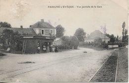 CPA La Gare Des Tramways De Parigné-l'évêque (72) - Autres Communes