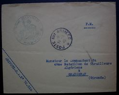 1945 Prévôté S.P° 70.018, Enveloppe Pour Le Commandant Du 4eme Bataillon De Tirailleurs Algériens, Gradignan - Postmark Collection (Covers)