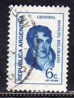 ARGENTINA 1970 MANUEL BELGRANO GENERAL GENERALE CENT. 6c USATO USED OBLITERE' - Usati